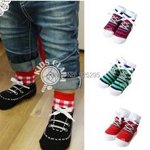Kids Baby Socks Cotton Shoelaces Style Anti Slip Short Socks 0 4Y