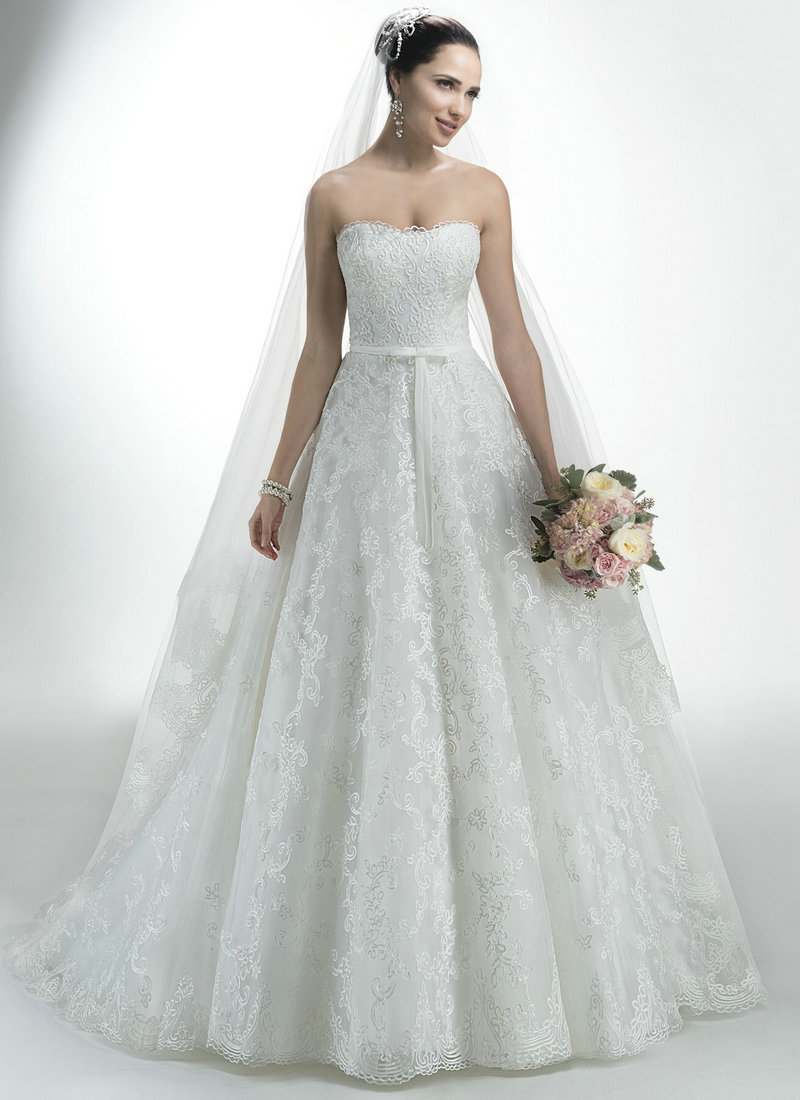 Ball Gown Wedding Dresses White Gown Strapless Lace Wedding Dress With Belt Vintage Wedding Dresses for Sale(China (Mainland))