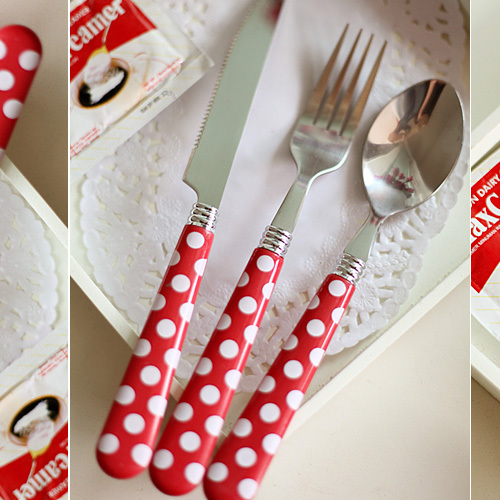 4 set pink polka dot western cutlery steak stainless steel knife fork spoon set triangle set