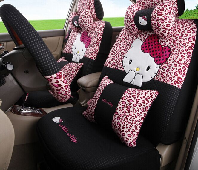 Pink leopard hello kitty car seats cover cartoon sedan car for Housse de voiture hello kitty