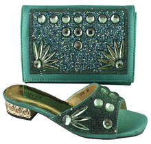 bottle green,new arrival African shoes and bags set for party,good quality shoes and matching bags with rhinestones! !HP1-49
