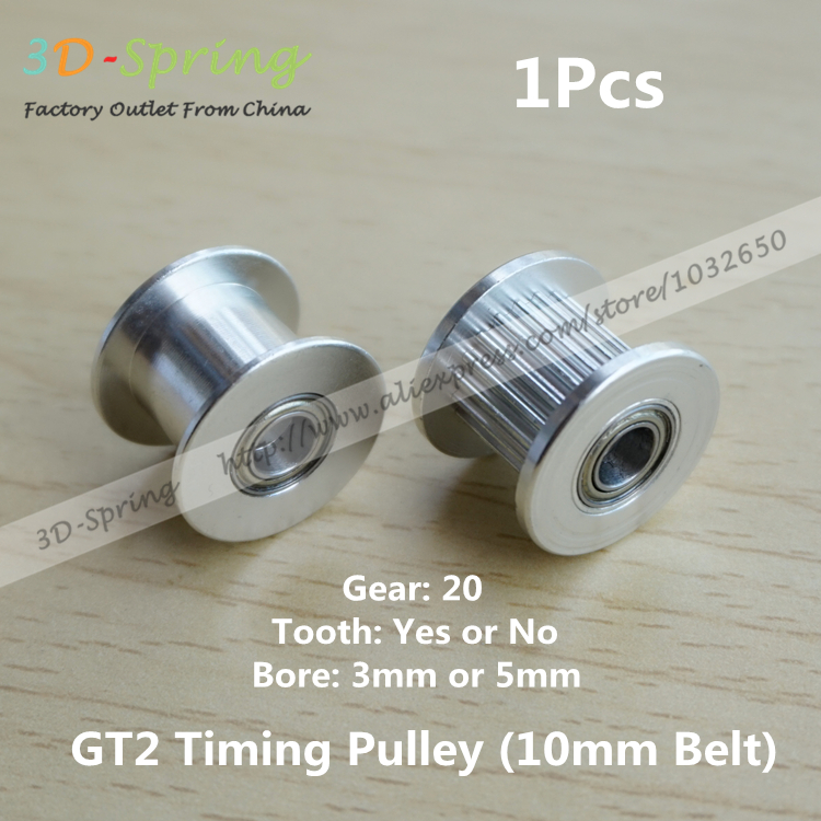 1Pcs 2GT GT2 Idle Pulley 20 Gear Tooth Idle Gear 20Teeth Timing Pulley Bore 3mm 5mm