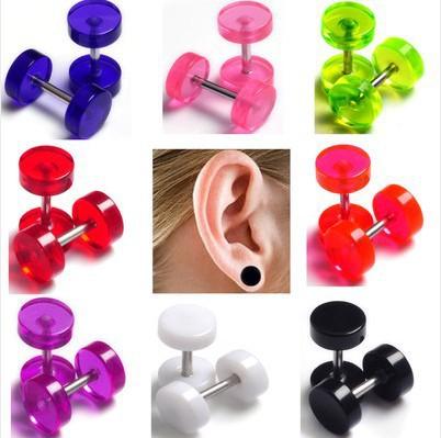 8mm Wholesale 80Pcs/lot Acrylic Barbal Ear Plugs Tunnel Transparent Ear Expander Stretchers Ear Tragus Piercing Kit Body Jewlery(China (Mainland))