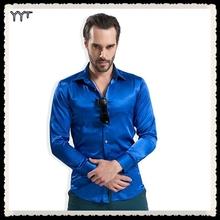 Leisure men's clothing High-grade emulation silk long sleeve shirts Men's casual shirt shiny satin men shirt(China (Mainland))