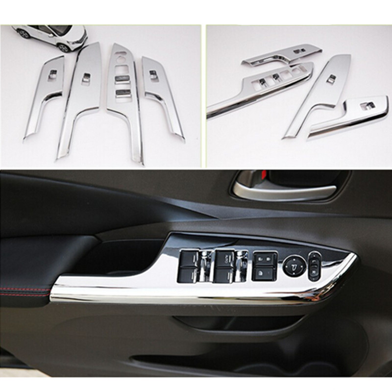 Car auto accessories inner door window switch cover trim for honda cr v crv 2012 2013 2014 2015 for 2014 honda cr v exterior accessories