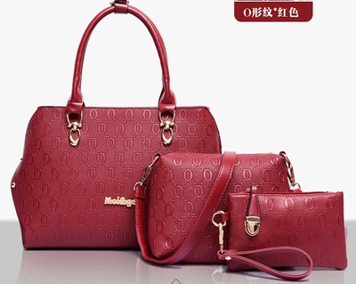 Women's bags 2016 fashon composite bag 3 pieces per set made from embossed pu leather messenger bag one set is enough B636(China (Mainland))