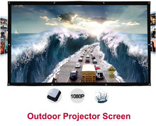 200 inches 16:9 Portable Wall Mounted Matt White Canvas Folding Outdoor Projector Screen for LED LCD HD Movie Projection Display