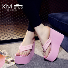 Fashion summer shoes women flip flops female beach wedges water-resistant high-heeled slippers hand made flower sandle