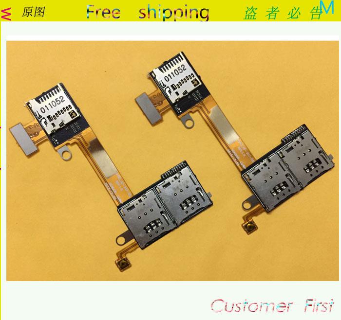 10 Pcs /Lot Original Sim Card Slot + TF Card Reader Slot Flex  For Sony Xperia M2  Dual Parts Replacement