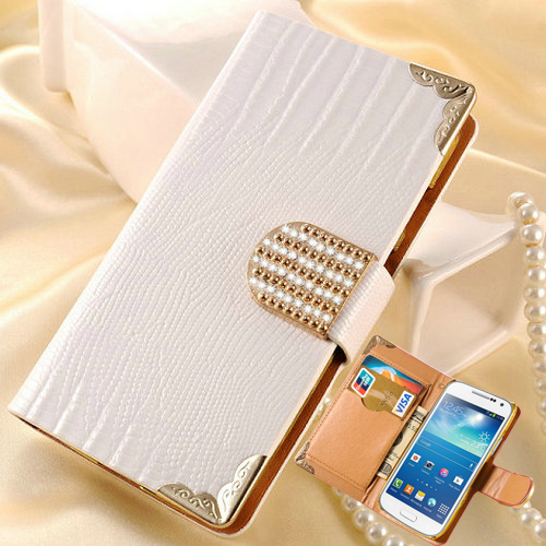 Luxury Bling Wallet PU Leather Case For Samsung Galaxy S4 Mini i9190 Fashion Shining Rhinestone Buckle Plastic Cover BOB(China (Mainland))