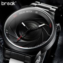 Buy BREAK men unisex unique camera style stainless rubber band casual fashion sport quartz wristwatch modern gift watch women for $19.83 in AliExpress store