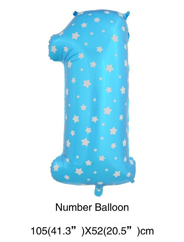 DHL Free Shipping Classic Toys Inflatable Number 1 Helium Foil Balloons,Party Decoration Blue Number one Balloon,Birthday Party(China (Mainland))