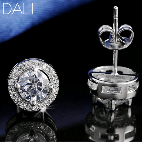DALI S925 Stamed Silver Earring Stud 0.75ct CZ Zircon Crystal S925 Jewelry Earring DE104(China (Mainland))