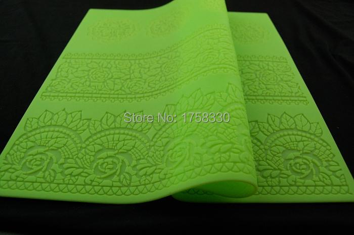 Free shipping 39.5*29.5CM Hot Selling BIG size Flower Silicone Mold Sugar Lace Mat Cake Mold Decorating Fondant Kitchen Tool(China (Mainland))