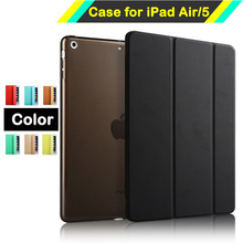 Intelligent Magnetic Smart Stand PU Leather Case for iPad Air 1 iPad 5 with Crystal Hard Back Cover with Auto Sleep / Wake(China (Mainland))
