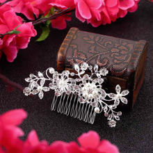 New Arrival 2015 Plated Stunning Sparkling Crystal Pearls Bridal Wedding Flower Silver Hair Comb Wholesale