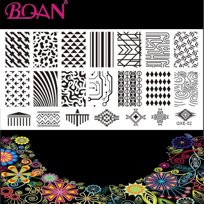 Free Shipping 1 Sheet Hot Sale Lace/Triangle/Straight Line Nail Art Image Plate(China (Mainland))
