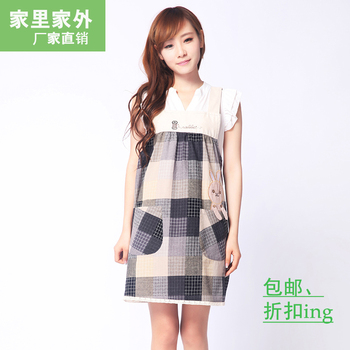 Aprons female fine plaid button patchwork pocket pullover aprons sleeveless suspenders vest aprons