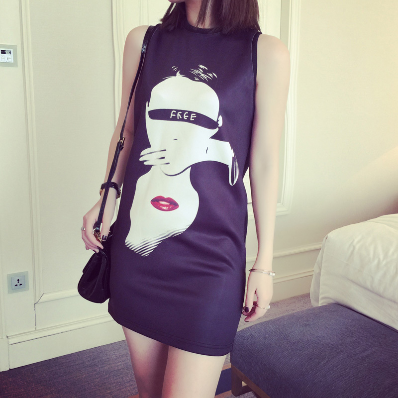 2015 vintage mini women dress personality abstract face print slim ladies vest casual summer dress loose fitness party dress(China (Mainland))