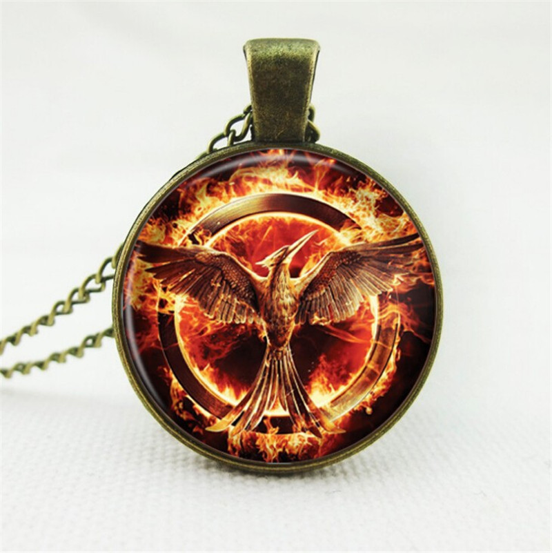 2016 laugh birds vintage women jewelry hot movie Hunger Games pendant necklace glass cabochon statement necklace