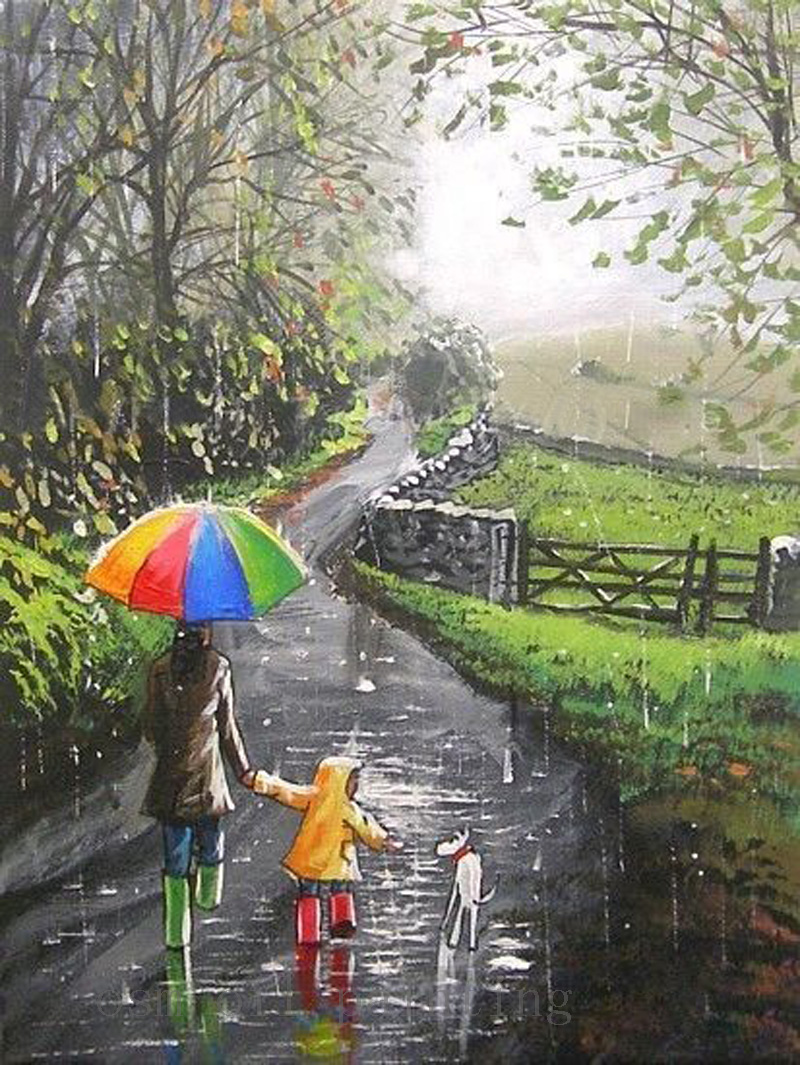 Handmade Abstract Fine Art Oil Acrylic Painting Dog Raindrops Down the Lane Mam Kid Landscape Wall Decorrative Canvas Paintings(China (Mainland))