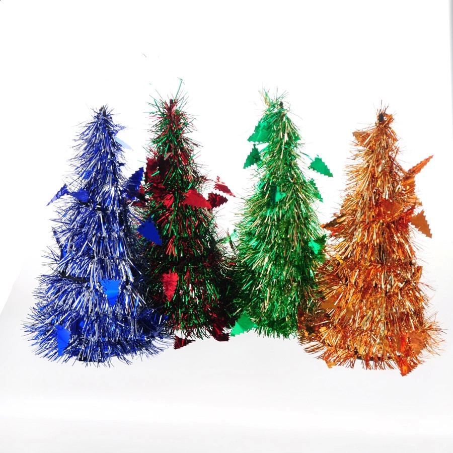 2015 New 25*12cm the plastic bubble silk mini tower christmas tree Office and house desk Decoration Artificial christmas tree(China (Mainland))