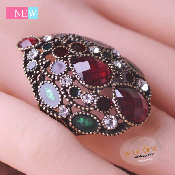 2015 Vintage Ruby Jewelry Bijuterias Antique Gold Plated Aneis Anel De Ouro Water Drop Unicorn Turkish