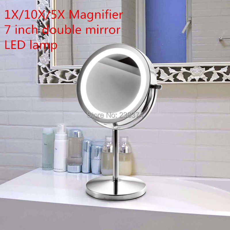 7 inch led table mirror 5x 10xmagnification high for Mirror definition