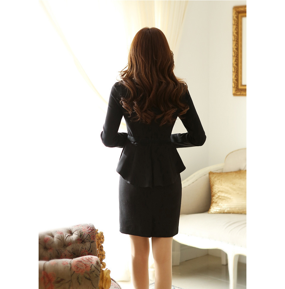 2014 Winter New Women Korean Fashion V-neck long-sleeved dress women Slim flounced XXL, black belt - European American fashion store