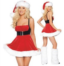 Buy New Fashion Adults Womens Santa Claus Costume Red Ladies Halter Christmas Dress Sexy Cute Christmas Party Fancy Dress