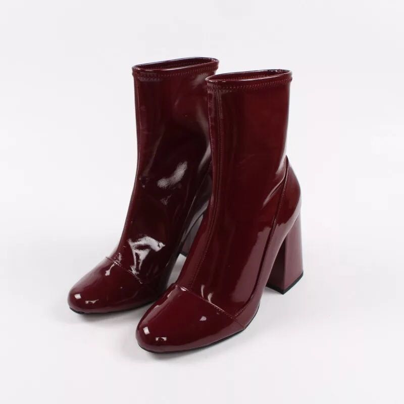 Women boots 2015 wine red patent leather boots with thick black women boots
