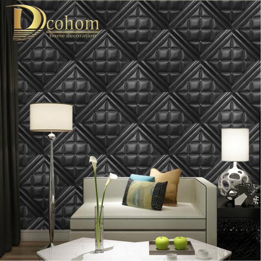 Online get cheap faux leather wallpaper for Modern vinyl wallpaper