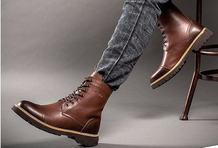 2016 MEN winter real leather  casual shoes ,  MEN  martin boots for winter with lace size 39-43