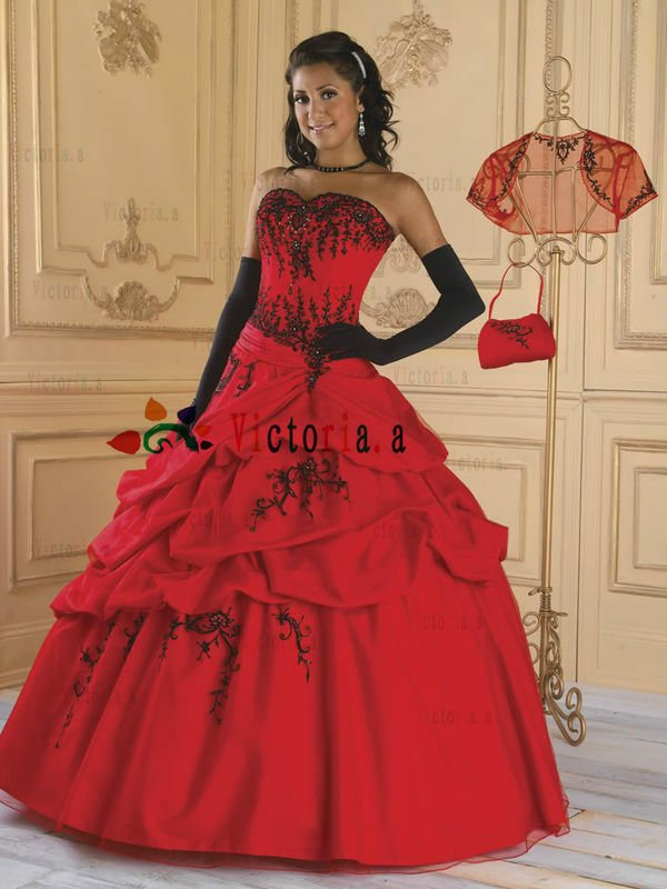 Red dress lace quinceanera | Fashion dresses lab
