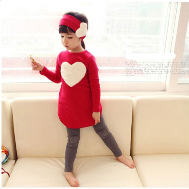 2016 new fashion Spring children girls clothing sets big heart-shaped dress + leggings Headwear baby kids suits - 1990 store