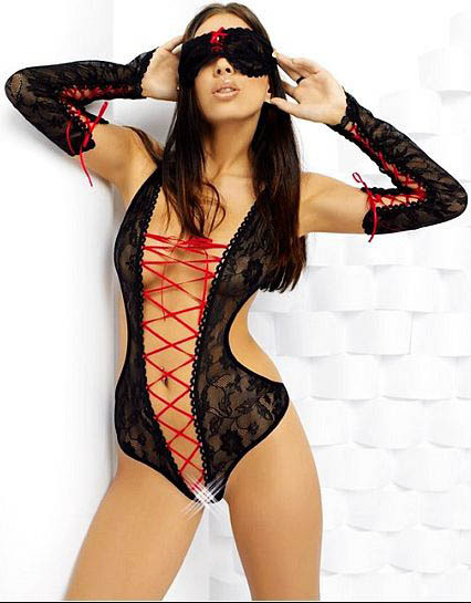 High Quality Hot Sexy Teddy Black lace and mesh toy WS68883(China (Mainland))