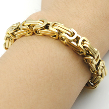 Promotion! Men's Bracelets Gold Chain Link Bracelet Stainless Steel 8mm Width Byzantine Wholesale High Quality BB247(China (Mainland))