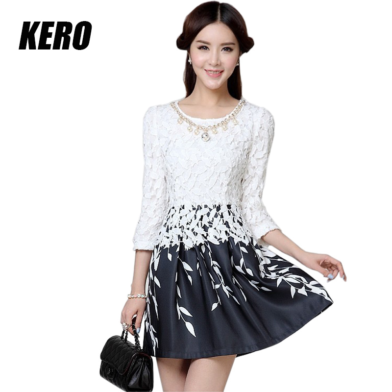 2015 Casual Knee-Length Diamonds O-Neck Flower Print Plus Size Chiffon Feminine Dresses Blue Black Lace Dress - Kero Fashion International store