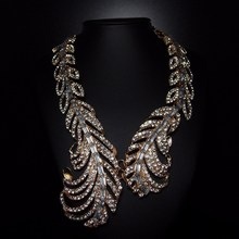 2015 spring new special chunky feather full rhinestone famous big brand necklace for women luxury 18k gold rhinestone necklace(China (Mainland))
