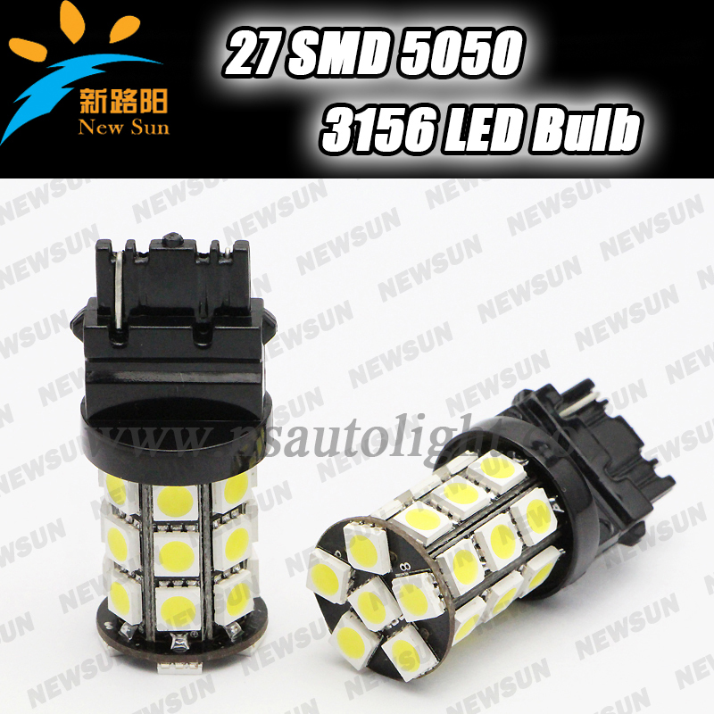 Super bright LED P27W 3156 Car Reverse Bulbs 5050 SMD 3.6W 12V White Yellow red blue green Led Backup Rear Turn Signal Fog Light(China (Mainland))