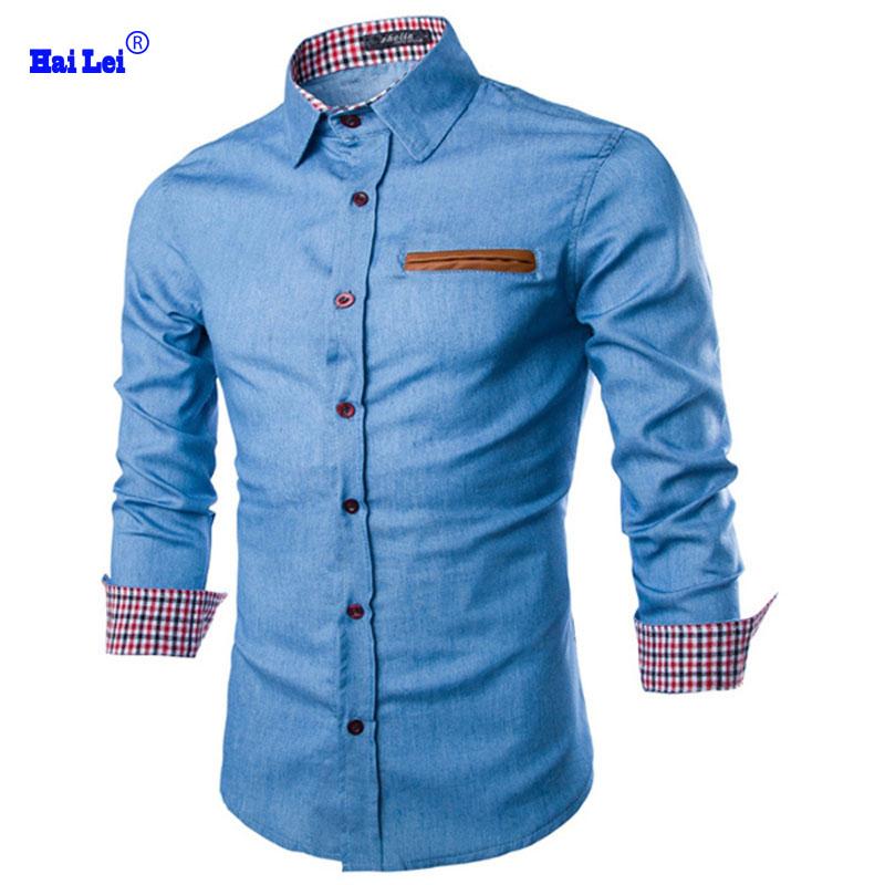 Men chemise homme denim shirt casual social plaid shirts for Mens casual plaid shirts