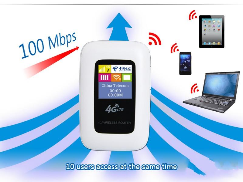 Unlocked 100Mbps Mobile Hotspot 3G 4G LTE FDD(1800/2100) TDD(1900/2300/2600) Portable Wireless wifi Router with LCD Screen(China (Mainland))