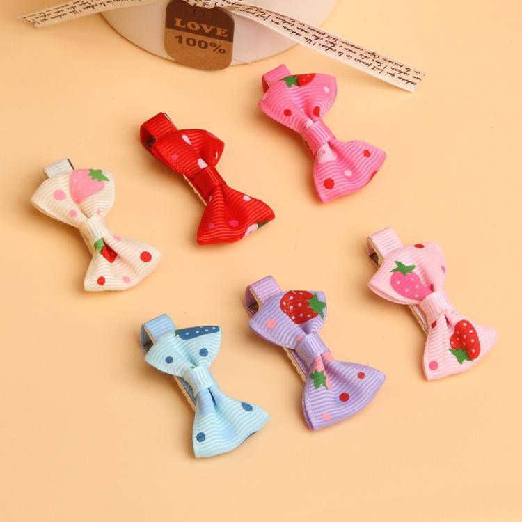 Baby Toddler Girls Hair Clips Ribbon Bow Kids Strawberry Satin Bowknot Hairpin 6 Colors Drop Shipping BB-099\br(China (Mainland))