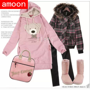 Amoon / Woman Girl 2015 New Spring Autumn Winter Casual Bear Bow Hoodies 3 Colors Special Price Free Size Cotton - ^^ Flats and More store
