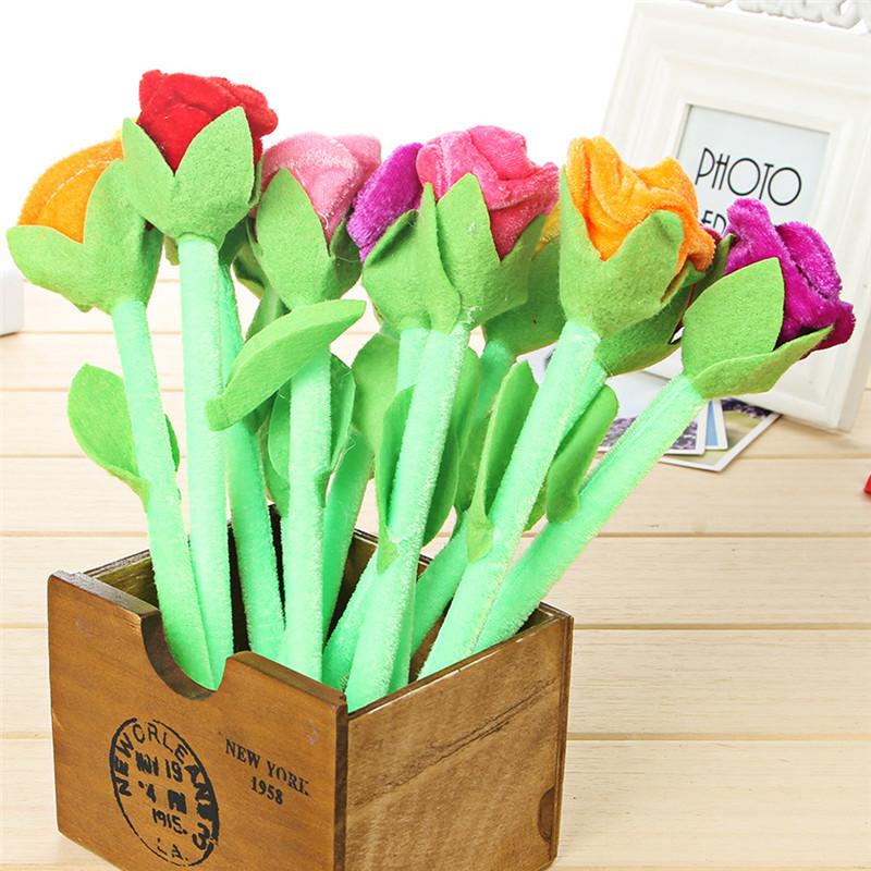 Plush rose flower ballpoint pen creative cartoon cute plush gift pen 5 pcs/set random color(China (Mainland))