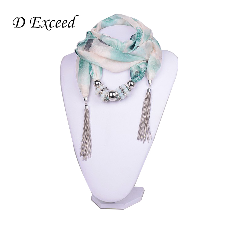 2015 Hot Selling Fashion Design Women/Lady's Jewelry Green Landscape Printing Scarf Necklace Tassels Pendant Scarves(SC150020)(China (Mainland))