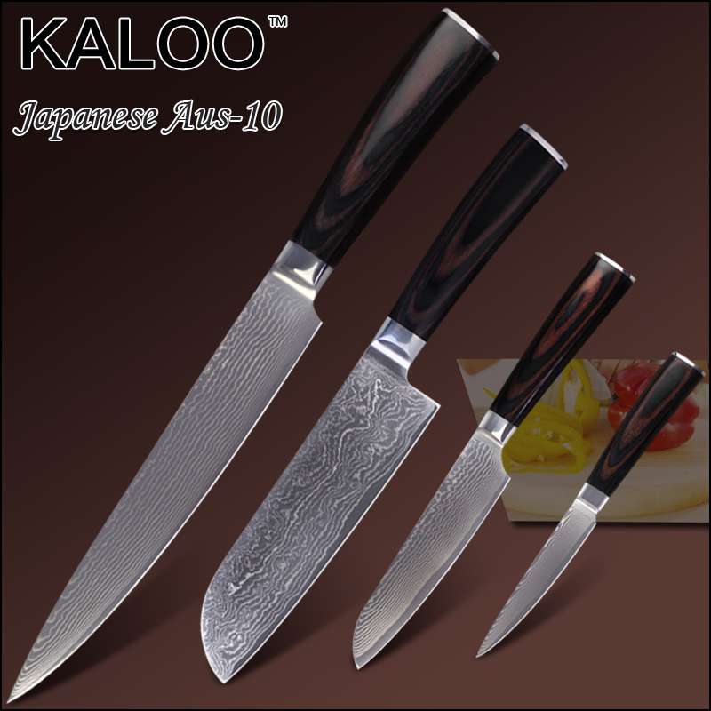 "KALOO damascus knives kitchen knives 8 inch slicing 7"" 5"" santoku 4.5"" utility knife Aus-10 stainless steel color wood handle.(China (Mainland))"