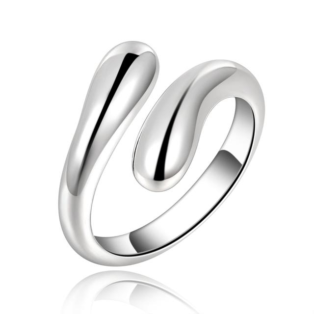 Новый посеребренные шарм женский двойной круглый кольцо бесплатная доставка падение ...