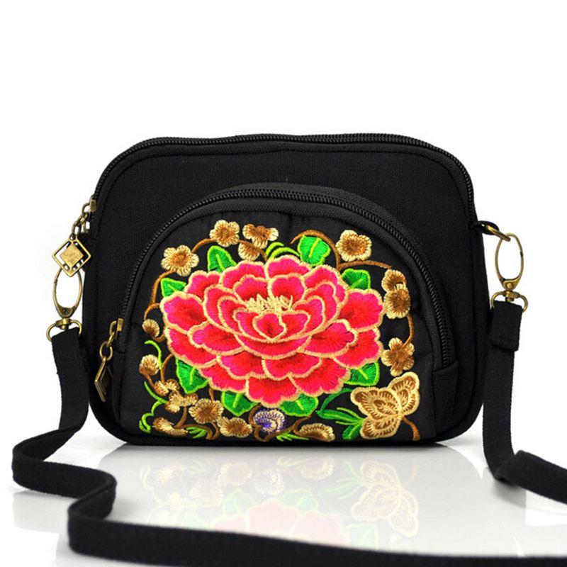 Fashion women handbag shoulder Bag women messenger bags National trend canvas embroidery handmade flower Embroidered Bag QT324