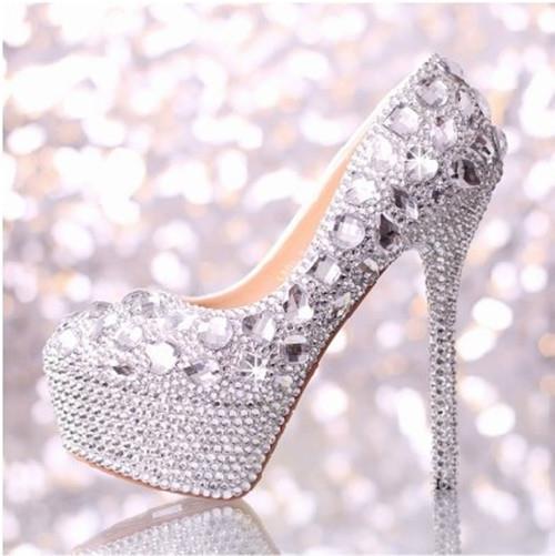 2016 new fashion luxury crystal diamond wedding shoes Women genuine leather bridal white high heel shoes Women pumps 273(China (Mainland))
